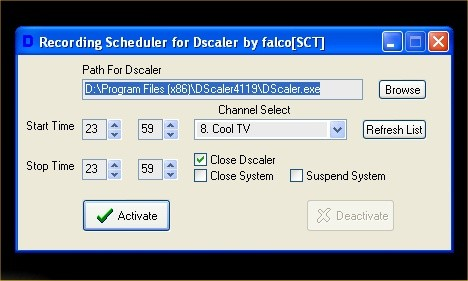recording scheduler for dscaler